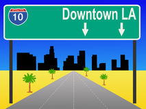 Los Angeles freeway. With sign illustration Stock Photo