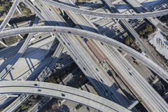 Los Angeles Freeway Bridges and Ramps. Los Angeles, California, USA - August 6, 2016:  Harbor 110 and Century 105 freeway interchange aerial south of downtown Royalty Free Stock Images