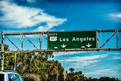 Los Angeles 101 freeway destination sign. On a sunny day, California Stock Photos