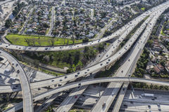 Los Angeles Freeway Interchange Aerial Routes 5 and 118 Royalty Free Stock Photography