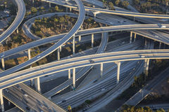 Los Angeles 110 and 105 Freeway Interchange Aerial. Aerial of Los Angeles 110 and 105 freeway interchange in Southern California Stock Photography