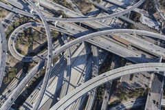 Los Angeles 110 and 105 Freeway Interchange Ramps Aerial. Aerial of Los Angeles 110 and 105 freeway interchange ramps and bridges in southern California Royalty Free Stock Photos