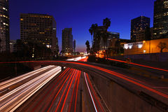 Los Angeles Freeway at Night. Timelapse Image of Los Angeles Freeway at Night With Stunning Blue Sky Stock Photo