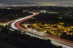 Los Angeles Freeway Route 118 Night. Night view of route 118 freeway entering the San Fernando Valley in Los Angeles, California Royalty Free Stock Photo