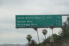 Los Angeles Freeway Sign Royalty Free Stock Images