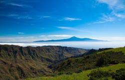 Los Angeles Gomera, widok w kierunku Teide Zdjęcie Royalty Free