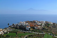 Los Angeles Gomera - widok z lotu ptaka Agulo z Tenerife Zdjęcie Stock