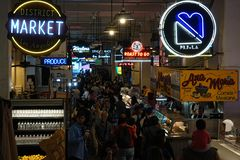 Los Angeles Grand Central Market Interior During A Busy Afternoon Stock Images