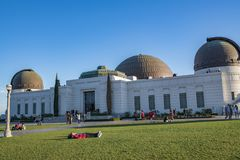 Los Angeles Griffith Observatory. Los Angeles, CA: February 16, 2018: Griffith Park Observatory in the Los Angeles area. The Griffith Observatory is a popular Stock Photos