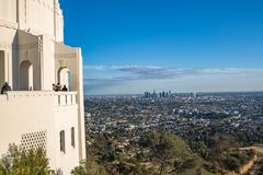 Los Angeles Griffith Observatory. Los Angeles, CA: February 16, 2018: Griffith Park Observatory in the Los Angeles area. The Griffith Observatory is a popular Royalty Free Stock Photography