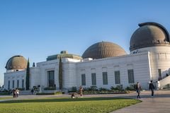 Los Angeles Griffith Observatory. Los Angeles, CA: February 16, 2018: Griffith Park Observatory in the Los Angeles area. The Griffith Observatory is a popular Royalty Free Stock Images