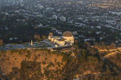Los Angeles Griffith Park Observatory Afternoon Aerial Stock Photography