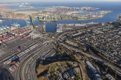 Los Angeles Harbor and San Pedro Neighborhood. Los Angeles, California, USA - August 16, 2016:  Afternoon aerial view of the Port of Los Angeles, Vincent Thomas Royalty Free Stock Image