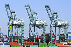 Los Angeles Harbor Shipyard Containers Stock Images