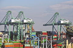 Los Angeles Harbor Shipyard Cranes and Containers Stock Images