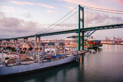 Los Angeles Harbor. The Vincent Thomas Bridge in Los Angeles Harbor from aboard a cruise ship Stock Image