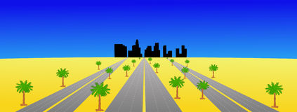 Los Angeles and highways Royalty Free Stock Photo
