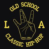 Los Angeles Hip-Hop typography for design clothes, t-shirts. Print with West Coast hand gesture. Vector illustration. stock illustration