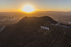 Los Angeles Hollywood Sign Aerial Stock Photo