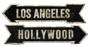 Free Los Angeles Hollywood Street Sign Grunge Arrow Metal Retro Vintage Royalty Free Stock Photography - 124644737