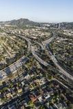 Los Angeles Hollywood 170 und Autobahnen Venturas 101 von der Luft Stockbild