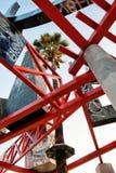 Los Angeles horisont från elyseiskt parkerar konstverk arkivbild
