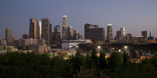 Los Angeles City Skyline Dusk Twilight Horizontal Royalty Free Stock Images