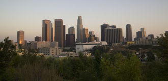 Los Angeles Downtown Skyline Horizontal Sunset Pic. A wide shot of the Los Angeles Skyline at Dusk royalty free stock photography