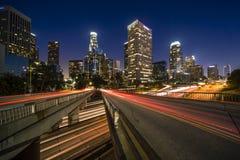 Los Angeles i stadens centrum nattscape Arkivbild