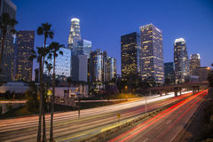 Los Angeles i stadens centrum nattscape Royaltyfri Foto