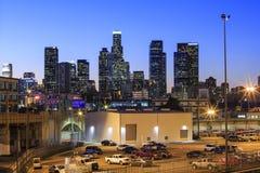 Los Angeles i stadens centrum nightscene Royaltyfri Bild