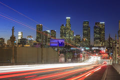 Los Angeles i stadens centrum nightscene Royaltyfri Fotografi