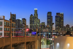 Los Angeles i stadens centrum nightscene Arkivbilder