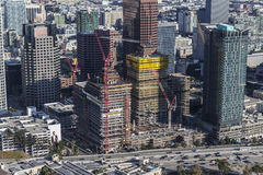 Los Angeles i stadens centrum South Park konstruktionsantenn Fotografering för Bildbyråer