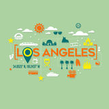Los Angeles icons and typography design Stock Photos