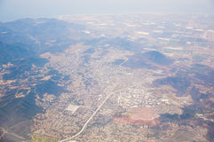 Los Angeles im Stadtzentrum gelegen, Augenansicht des Vogels am sonnigen Tag Lizenzfreies Stockfoto