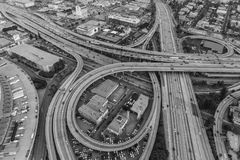 Los Angeles Interchange Black and White. Los Angeles, California, USA - July 21, 2016: Black and white dusk aerial of the Santa Monica 10 and Harbor 110 freeway Stock Images