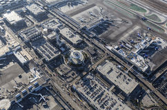 Los Angeles International Airport Aerial View. Los Angeles, California, USA - August 16, 2016:  Afternoon aerial view of LAX terminals, aircraft, control tower Royalty Free Stock Photography