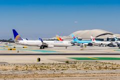 Los Angeles International Airport (LAX). LOS ANGELES, USA - SEP 26, 2015: United airlines aircraft at the Los Angeles International Airport (LAX) , the primary Stock Photo
