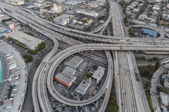 Los Angeles Iterchange. Los Angeles, California, USA - July 21, 2016:  Dusk aerial of the Santa Monica 10 and Harbor 110 freeway interchange near downtown Los Stock Photography