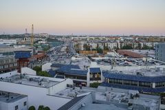 Aerial view of Little tokyo. Los Angeles , JUN 15: Sunset Aerial view of Little tokyo on JUN 15, 2017 at Los Angeles, California Royalty Free Stock Photos