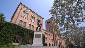 Campus of the University of Southern California. Los Angeles, JUN 4: Tommy Trojan and Bovard Aministration, Auditorium of the University of Southern California stock footage