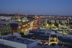 Aerial view of Little tokyo. Los Angeles , JUN 15: Twilight aerial view of Little tokyo on JUN 15, 2017 at Los Angeles, California Royalty Free Stock Photography