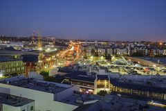 Aerial view of Little tokyo. Los Angeles , JUN 15: Twilight aerial view of Little tokyo on JUN 15, 2017 at Los Angeles, California Royalty Free Stock Photo