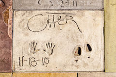 Handprints of Cher in Hollywood Boulevard in the concrete of Chi Stock Images