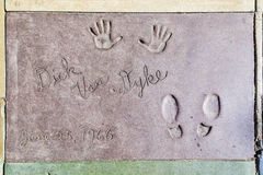 Dick van Dykes handprints in Hollywood Boulevard in the concrete Royalty Free Stock Image