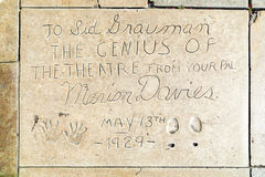 Marion Davies handprints in Hollywood Boulevard in the concrete Stock Images