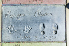 Morgan Freemans handprints in Hollywood Boulevard in the concret Royalty Free Stock Photos