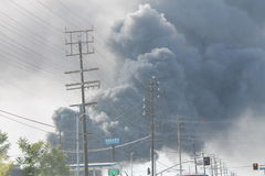 Los Angeles Junk Yard Fire 2016 Plumes Smoke. Huge Los Angeles Junk Yard Fire With Plumes Of Smoke royalty free stock photo