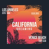 Los Angeles, Kalifornia typografia dla koszulki Lato projekt Koszulki grafika z zwrotnik palmami royalty ilustracja